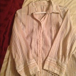 Tops - Beige/brown/tan stripped button down